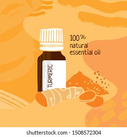 Jar with turmeric essential oil  on an orange abstract background. Poster for catalog, invitations, parties and Spa. Color cute cartoon vector illustration