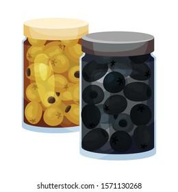 Jarred Black and Green Olives Vector Element
