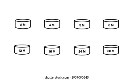 Jars for cosmetics. The sign of the shelf life of cosmetics and other goods. Period after opening. PAO. Icon set vector illustration.