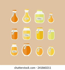 Jars of honey set of icons. Vector isolated elements for design