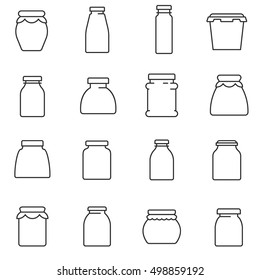 jars, line icons set. Glass jar, symbols collection. empty jar for food storage, vector linear illustration