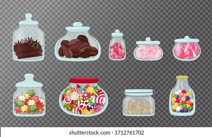 Jars set. Food storage in glass. Glass jar  different shape and style with lollypops, marshmallow, cookies, nuts and cinnamon. Zero waste, food storage container collection. Hand drawn  jars isolated.
