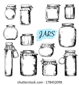 Jars. Set of hand drawn graphic illustrations in sketch style
