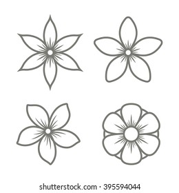 Jasmine Flower Icons Set on White Background. Vector