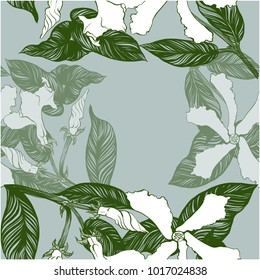 Jasmine - flowers, buds, leaves. Seamless background. Vector image. Wallpaper. Use printed materials, decoupage maps, posters, postcards, packaging.