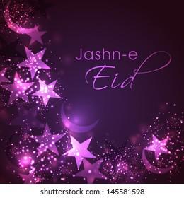 Jasn-E-Eid ( Celebration of Eid Festival) with shiny stars on abstract purple background.