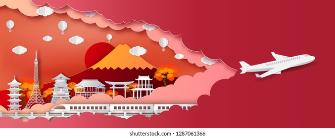 JaTravel and tourism and transport .Traval to japan of world famous landmarks  of Japan in autumn season with balloon.concept vector paper art and digital craft style.