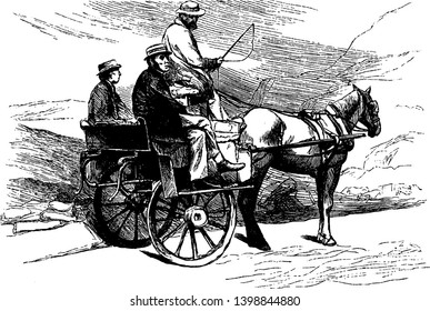 Jaunting Car was a light horse drawn two wheeled open vehicle with seats placed lengthwise, vintage line drawing or engraving illustration.