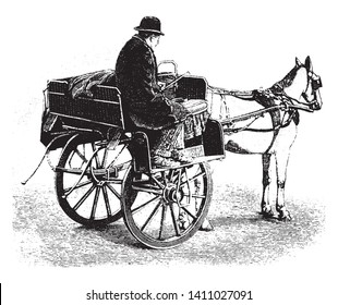 Jaunting car in which each is a two wheeled affair with seats high up over the wheels and steps below on which our feet rest, vintage line drawing or engraving illustration.