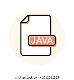 JAVA file format, extension color line icon. Vector illustration