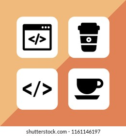java icon. 4 java set with code and coffee vector icons for web and mobile app
