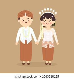 Java Indonesia Wedding Couple, cute Indonesian Javanese traditional white clothes costume bride and groom cartoon vector illustration