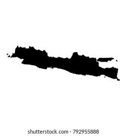 Java map. Isolated black island outline. Vector illustration.