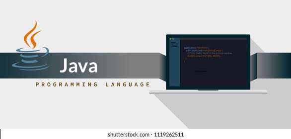 JAVA programming language with script code on laptop screen, programming language code illustration