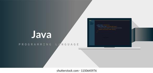 JAVA programming language with script code on laptop screen, programming language code illustration