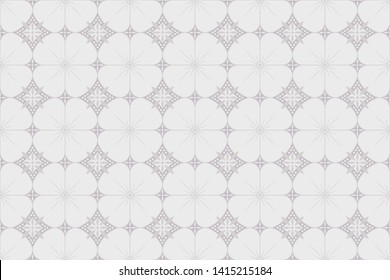 Javanese Batik Kawung Seamless pattern with Gray color design Pattern, for textile, holiday decoration, fabric, cloth, gift paper, prints, decor. Vector illustration, traditional art