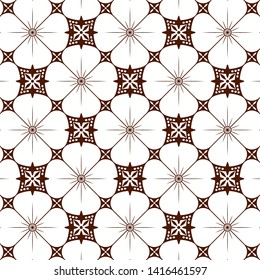 Javanese Batik Kawung Seamless Pattern, for textile, holiday decoration, fabric, cloth, gift paper, prints, decor. Vector illustration