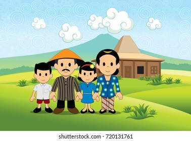 Javanese Family Family portrait of Javanese tribe with mountain background and verdant rice field.