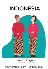 Javanese man and woman wearing traditional dress from central java indonesia character vector illustration flat design, indonesian traditional wedding dress template, ancient heritage indonesia