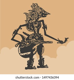 Javanese puppet illustration vector. Wayang Characters in the Mahabharata story