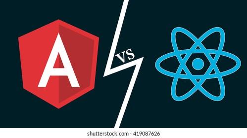 Javascript frameworks icons. Angular vs react. Vector illustration for web development, frontend software, js coding.