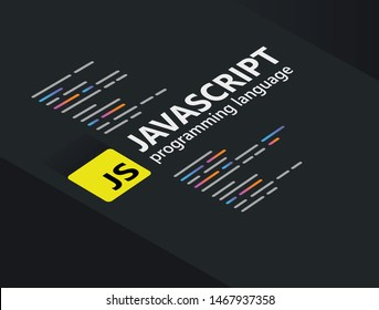 Javascript the popular programming language coding software technology vector illustration