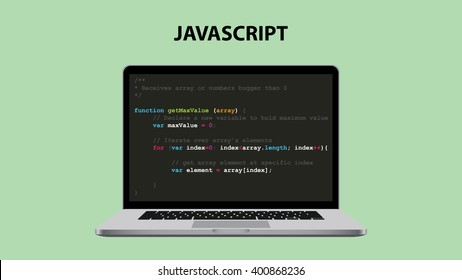 javascript programming language illustration with laptop and script code vector illustration