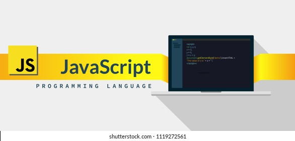 Javascript  programming language with script code on laptop screen, programming language code illustration