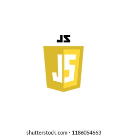 JavaScript web technology shield. Web site development icon.