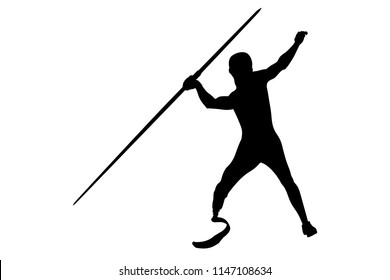 javelin throw athlete disabled amputee on prosthesis black silhouette