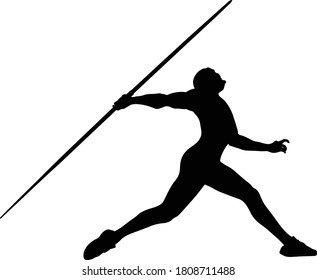 javelin throw male athlete black silhouette on white background