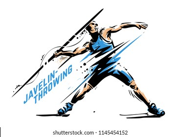 Javelin-throwing. Sport vector illustration for print
