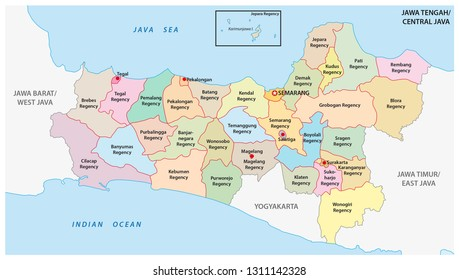 Jawa Tengah, Central Java administrative and political vector map, Indonesia