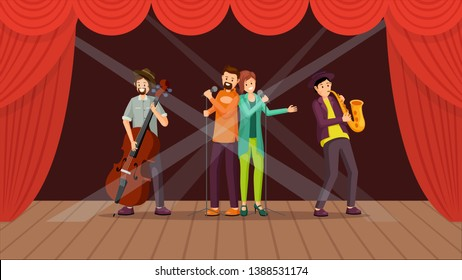 Jazz band concert flat vector illustration. Cartoon duet singers performing on stage with red curtains. Music accompaniment, cellist, saxophonist musicians, playing cello, saxophone in spotlight