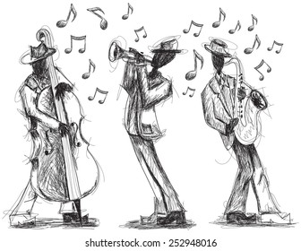 Jazz band doodles Hand drawn jazz band with a trumpet player, bassist,and saxophonist