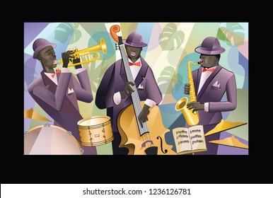 Jazz band on a colorful background - vector illustration