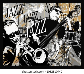 Jazz band on a grunge background - vector illustration