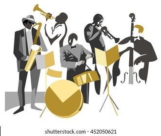 Jazz band on isolated background