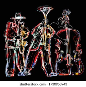 Jazz band with saxophone, trumpet and double-bass - Vector illustration (Ideal for printing on fabric or paper, poster or wallpaper, house decoration)