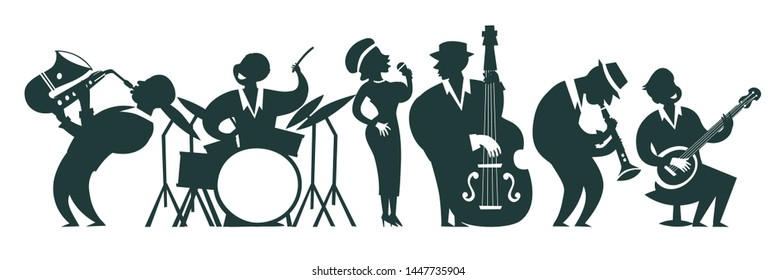 Jazz band silhouettes vector illustration. Cartoon jazz musicians outline set: contrabassist, saxophone, drum, clarinet, banjo player and singer. Isolated on white background