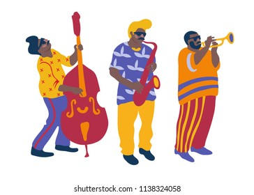 Jazz band. Vector cartoon illustration with trumpeter, double bass player and saxophonist.
