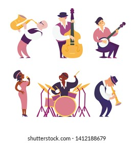 Jazz band vector colorful illustration. Cartoon jazz musicians set: contrabassist, saxophone, drum, clarinet, banjo player and singer. Isolated on white background