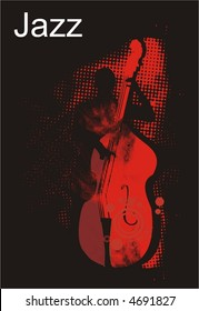 jazz bass player performance,halftone pattern texture,vector illustration