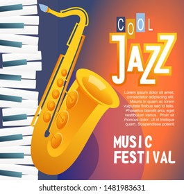 jazz blues festival concert, graphic poster template advertising evening entertainment live music show Vector illustration