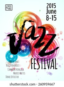 Jazz blues music festival, poster background template. Hand drawn Typographic flyer or poster. Vector design.