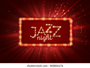 Jazz, blues music poster, flyer template. Red vintage light banner vector illustration. Shining retro frame. Jazz night, event, festival, show, party.