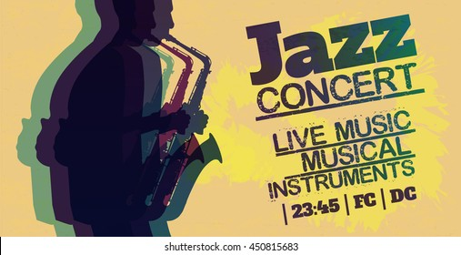 Jazz and blues poster. Saxophonist.