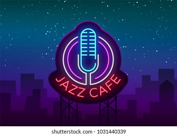 Jazz cafe is a neon sign. Symbol, neon-style logo, bright night banner, luminous advertising on Jazz music for Jazz cafe, restaurant, bar, party, concert. Vector illustration. Editing text neon sign