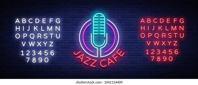 Jazz cafe is neon sign. Symbol, neon-style logo, night banner, advertising on Jazz music for Jazz cafe, restaurant, bar, party, concert. Design template. Vector illustration. Editing text neon sign