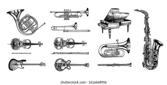 Jazz classical wind instruments set. Musical Trombone Trumpet Flute Bass guitar Semi-acoustic French horn Saxophone Cello Tuba Violin Piano. Hand drawn monochrome engraved vintage sketch. Brass
